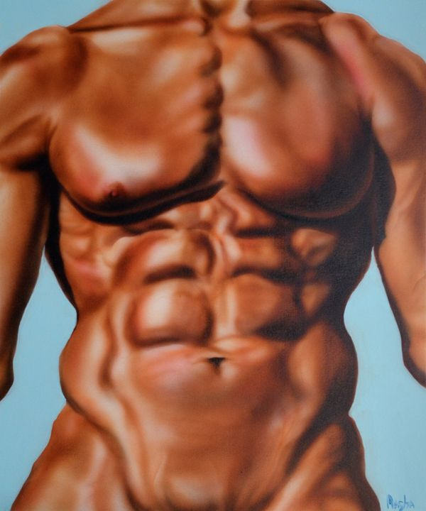 Male Abs acrylic painting - Maria Payes