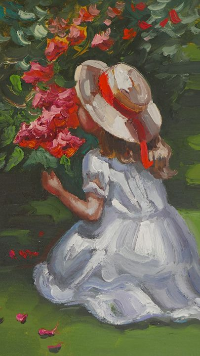 A girl smelling flowers - Tamara's Chakras