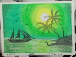 Green scenery drawing