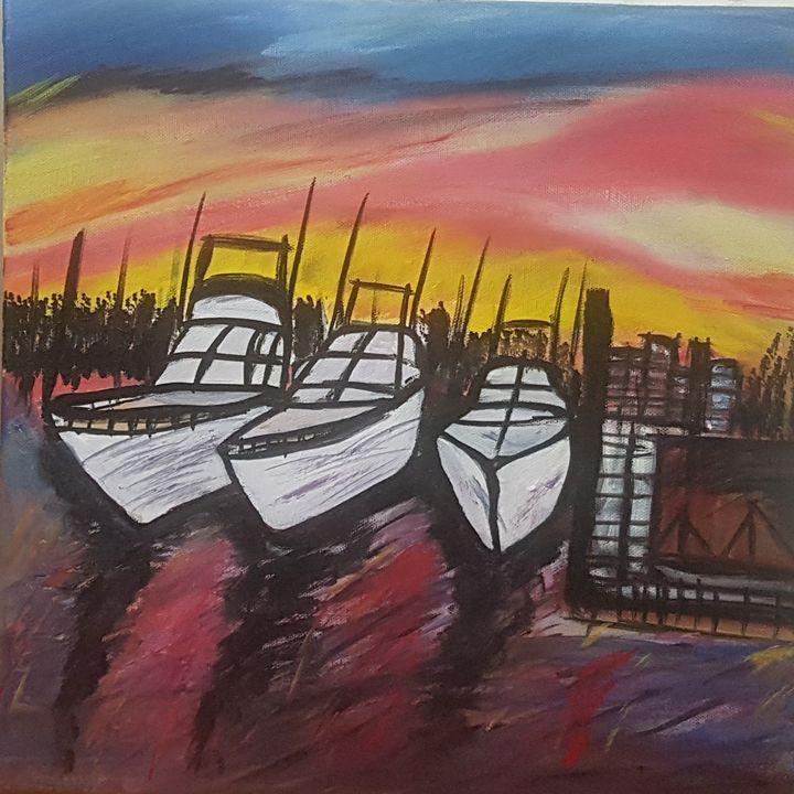 sunset boats - Art by Habi