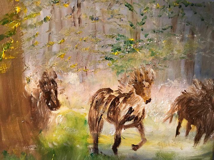 Wild Horses wandering - Deborahmillsopen door