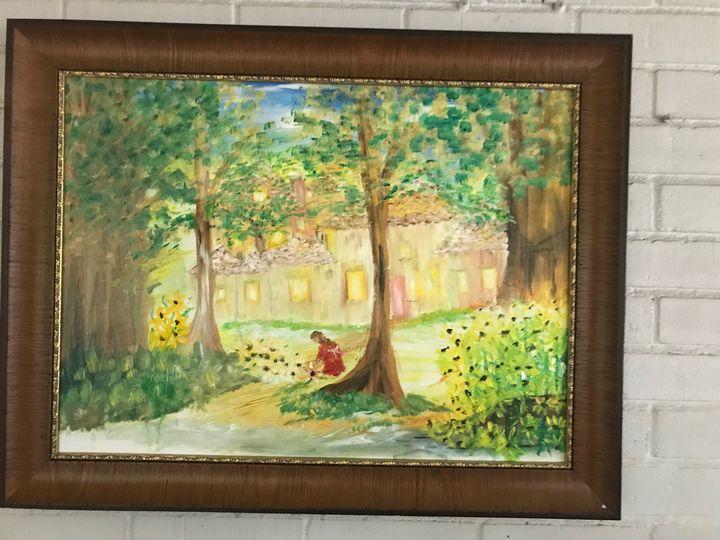 picking sunflowers - Deborahmillsopen door