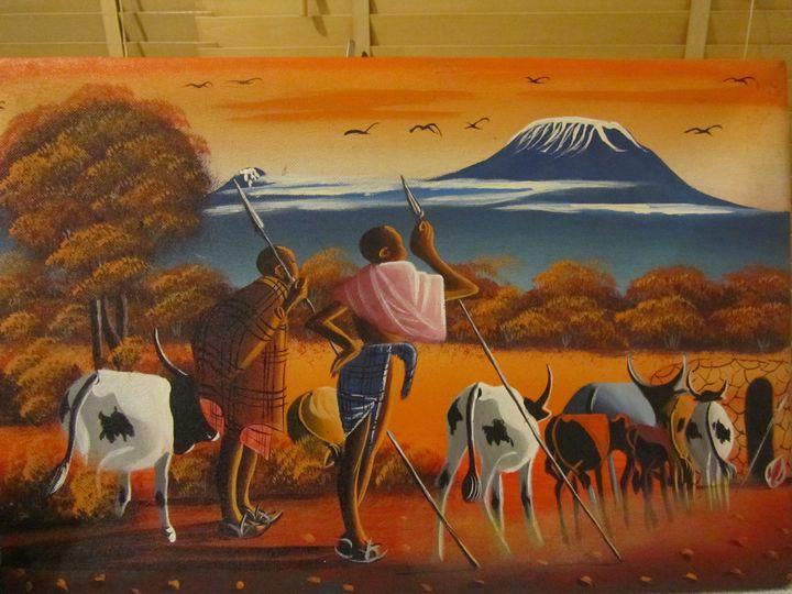 Herdsmen at sunset - Africart