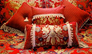 Embroidered Red Floral Pillows