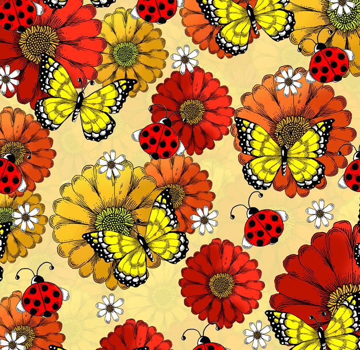 Ladybugs, Butterflies, and Flowers - Janelle Dimmett Illustration and Design