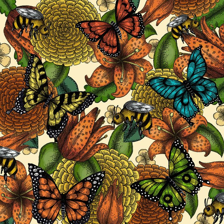 Flowers and Butterflies - Janelle Dimmett Illustration and Design