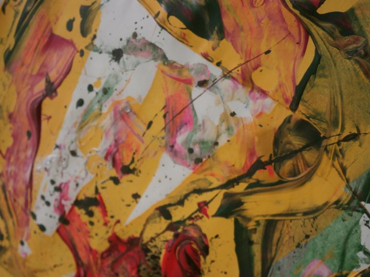 Hiding in the abstract art. - The artist P G Kimble