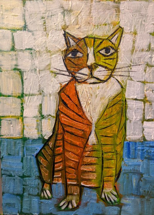 Cat on a blue rug - Ron Kammer