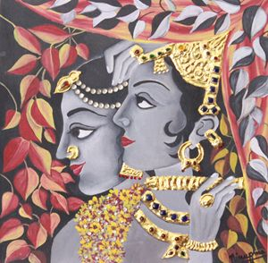 radha krishna in pure gold foil work