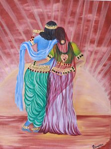 painting of krishna and radha