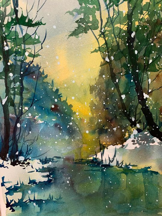 Snow Storm - Jerry Aissis Watercolors and Oils