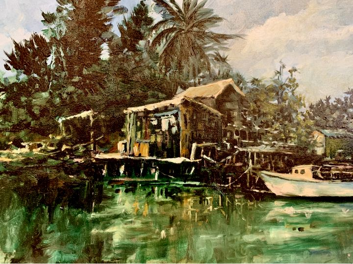 Puerto Rican Harbor Scene - Jerry Aissis Watercolors and Oils