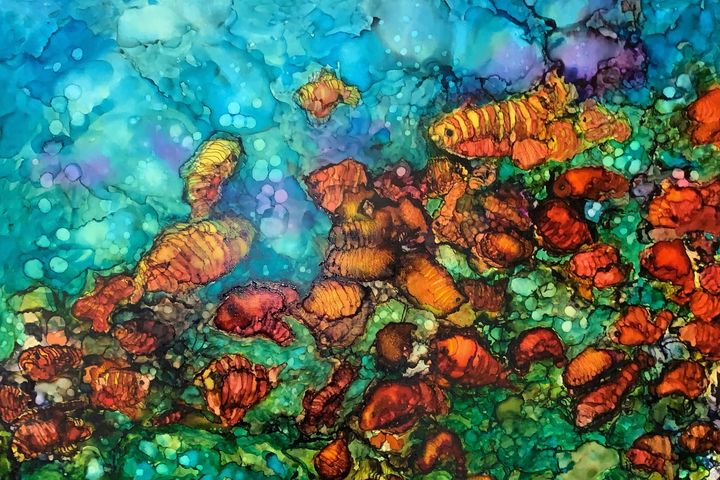Feeding Frenzy - Jerry Aissis Watercolors and Oils