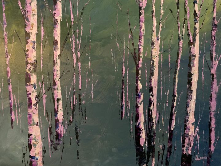 White Birch - Jerry Aissis Watercolors and Oils