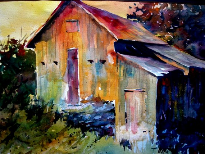 A Barn in Sutton - Jerry Aissis Watercolors and Oils