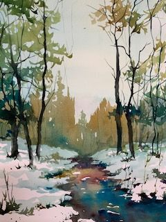 Icy Stream - Jerry Aissis Watercolors and Oils