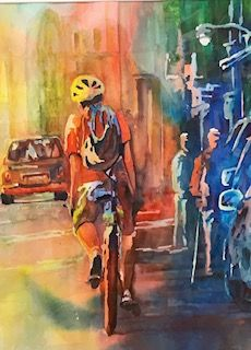 Biking in Boston - Jerry Aissis Watercolors and Oils