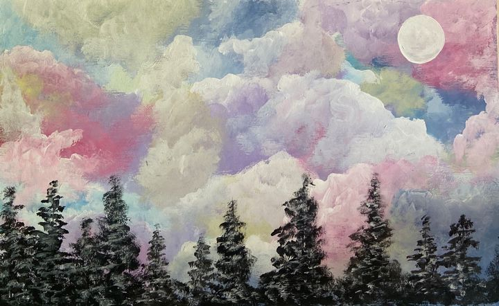 Cotton Candy Skies - Acrylic Canvas Paintingd