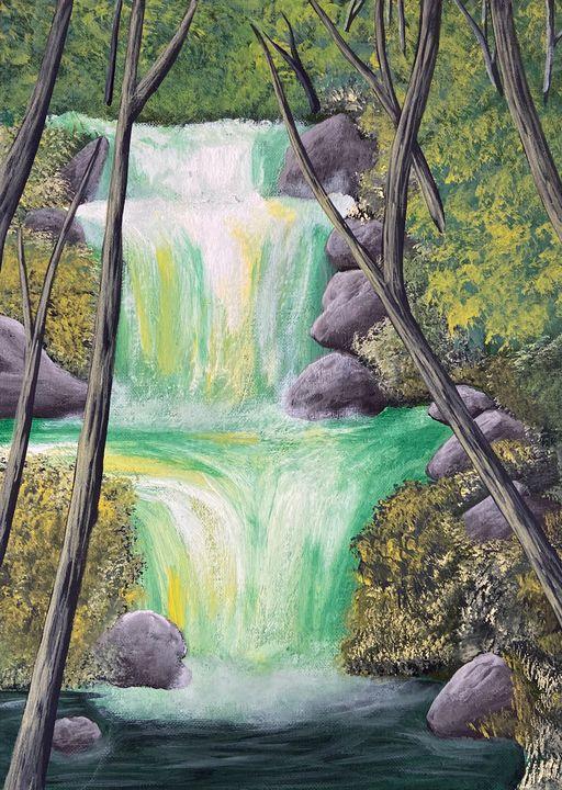 Waterfall Stream - Acrylic Canvas Paintingd