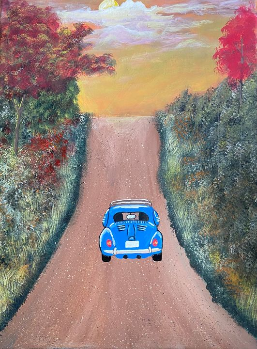 Vintage Car Country Road - Acrylic Canvas Paintingd