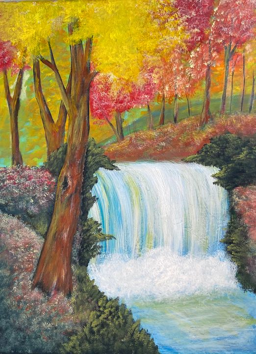 Autumn Stream - Acrylic Canvas Paintingd