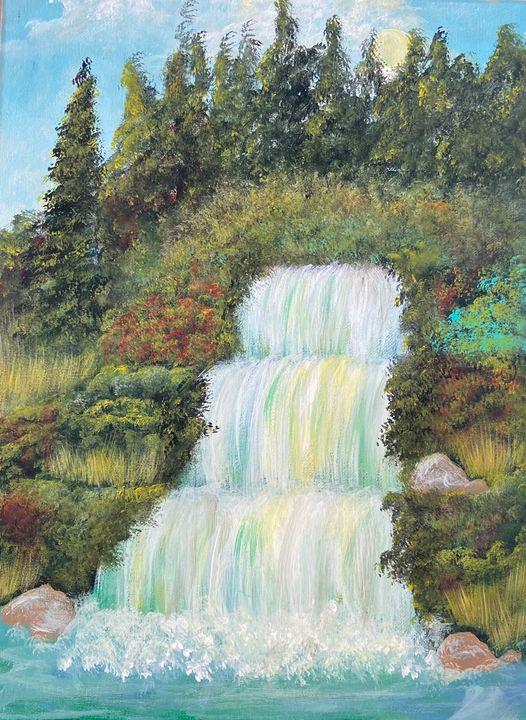 Waterfall Meadow - Acrylic Canvas Paintingd