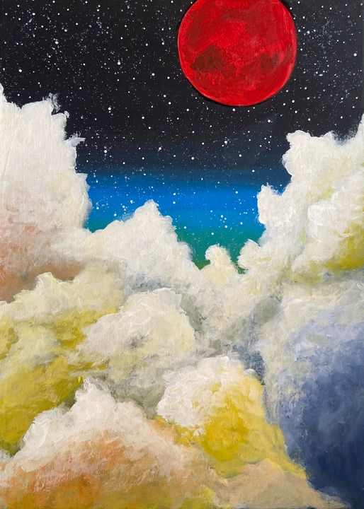 Red Moon Skies - Acrylic Canvas Paintingd