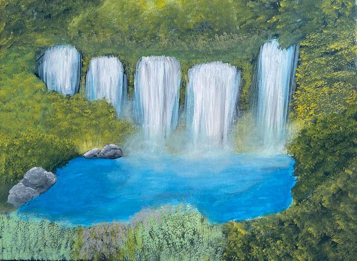 5 Waterfall Stream - Acrylic Canvas Paintingd
