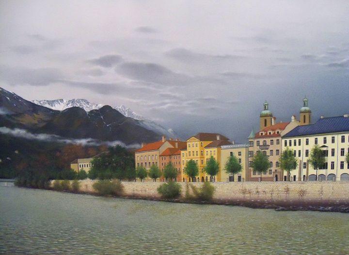 Innsbruck from River Inn Bridge - Creative Works of Jerry Sauls