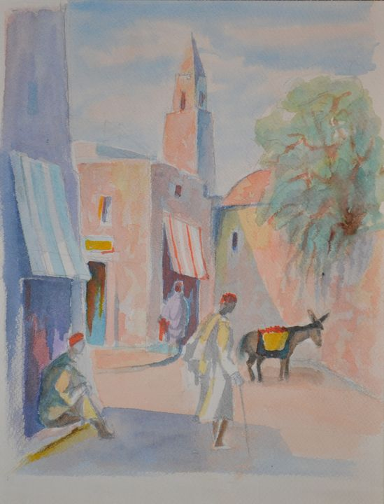 Donkey on the street in Marocco - Emile Haymoz