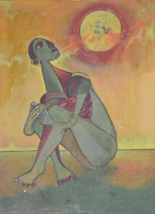 Nude woman sitting on the floor - Emile Haymoz