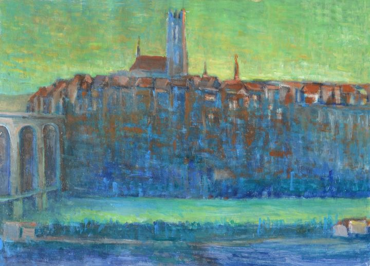 Bridge and Cathedral in Fribourg - Emile Haymoz