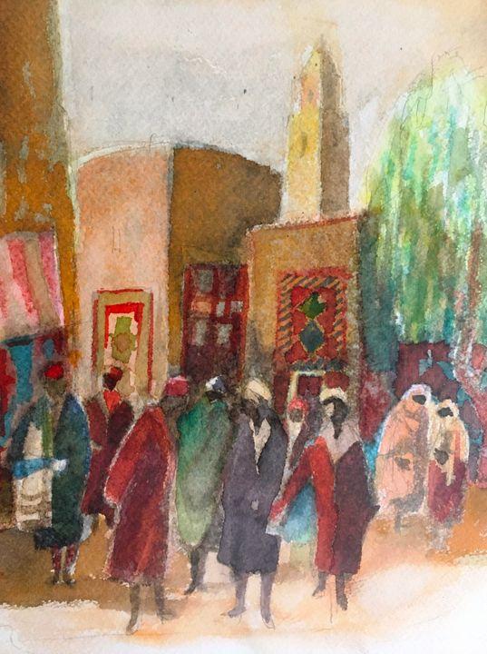 Watercolor drawing in Marocco - Emile Haymoz