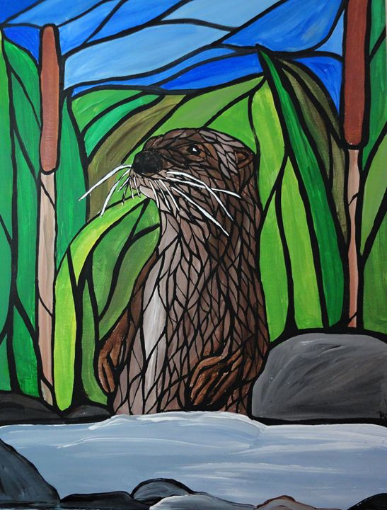 River otter - Her painted canvas