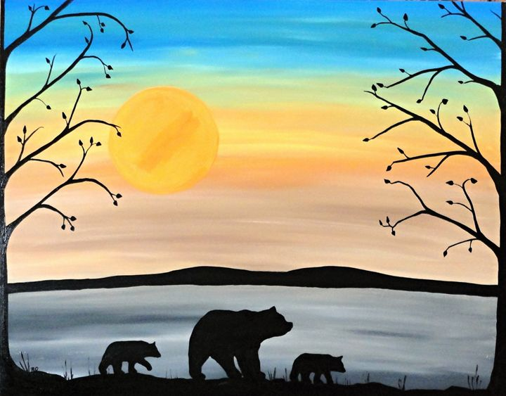 Mother bear and cubs - Her painted canvas