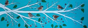 Sparrows winter branch - Her painted canvas