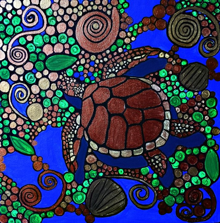 Copper Turtle - Her painted canvas