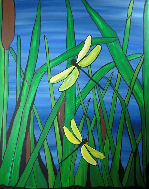 Dragonfly Pond - Her painted canvas