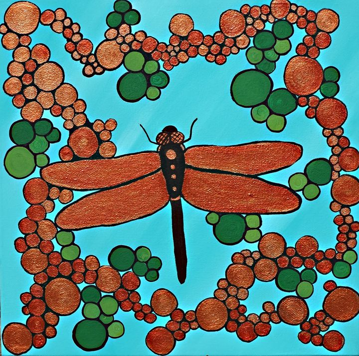 Teal with copper dragonfly - Her painted canvas