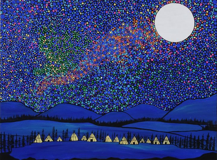 Village under the stars - Her painted canvas