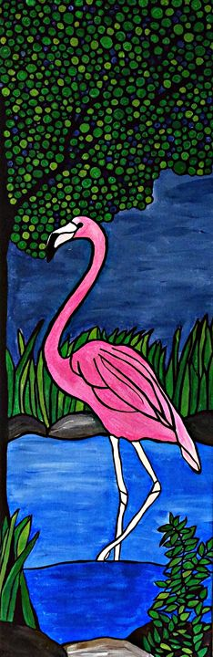 Pink Flamingo - Her painted canvas
