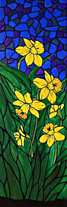 Daffodil mosaic bloom - Her painted canvas