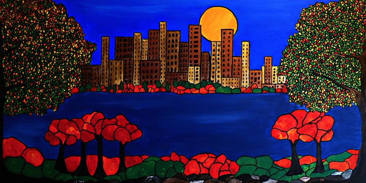 City across the bay - Her painted canvas