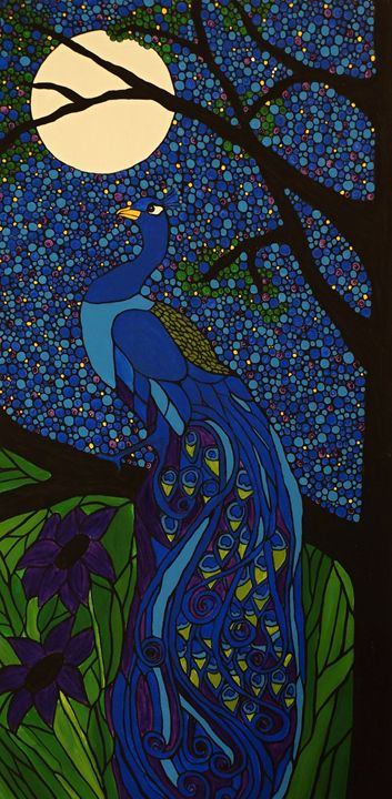 Peacock Blue - Her painted canvas