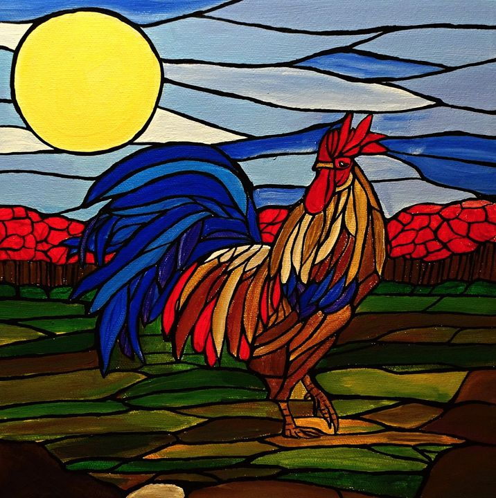 Country Rooster - Her painted canvas