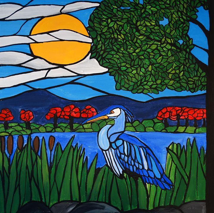 Blue Heron Marsh - Her painted canvas