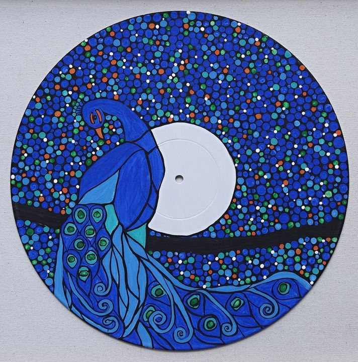 Peacock on vinyl record - Her painted canvas