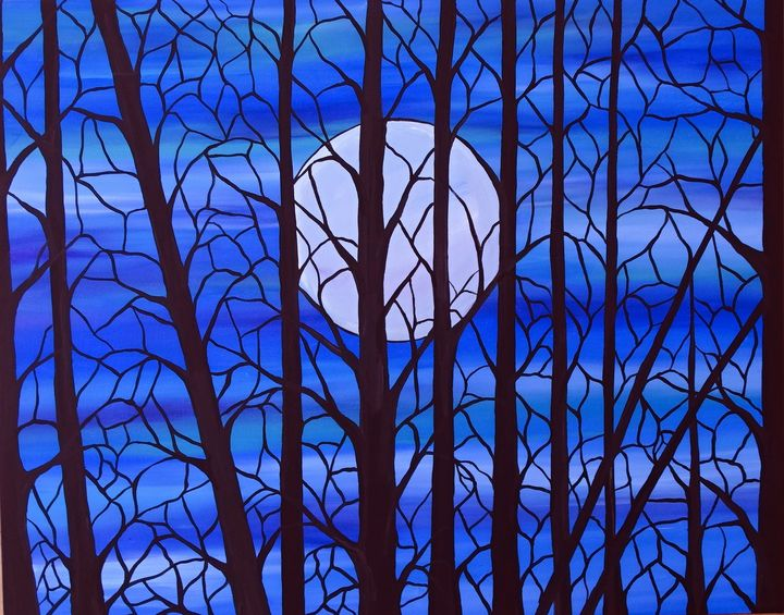stained glass moon - Her painted canvas
