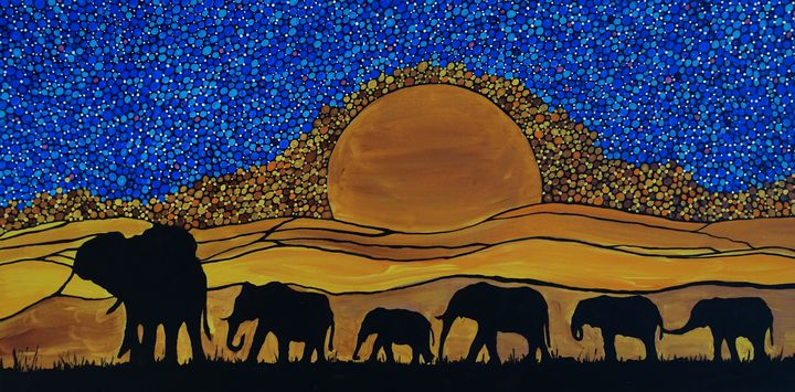 Elephants - Her painted canvas