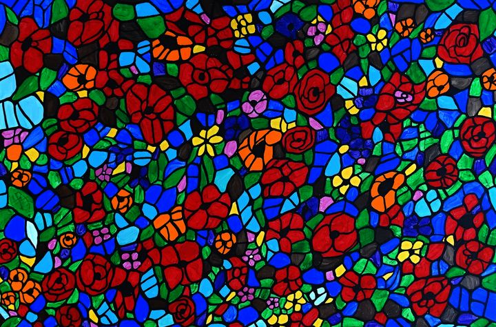 Stained glass flower garden - Her painted canvas